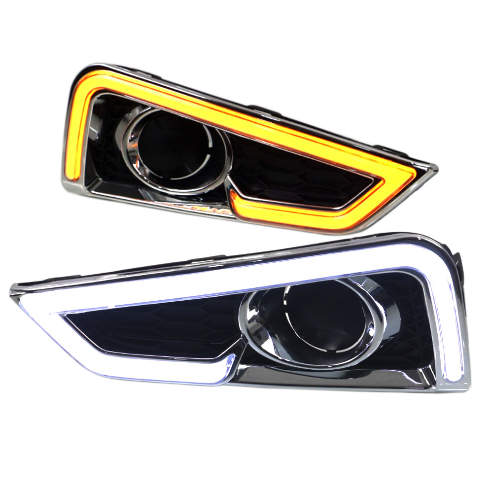 Daytime Running Light DRL for Honda City 2015 2016 Left and Right Fog Light Cover White DRL / Yellow Turning / Blue Night Light daytime running light 100% waterproof led drl white and red color day light fog light turning signal flexible car running light