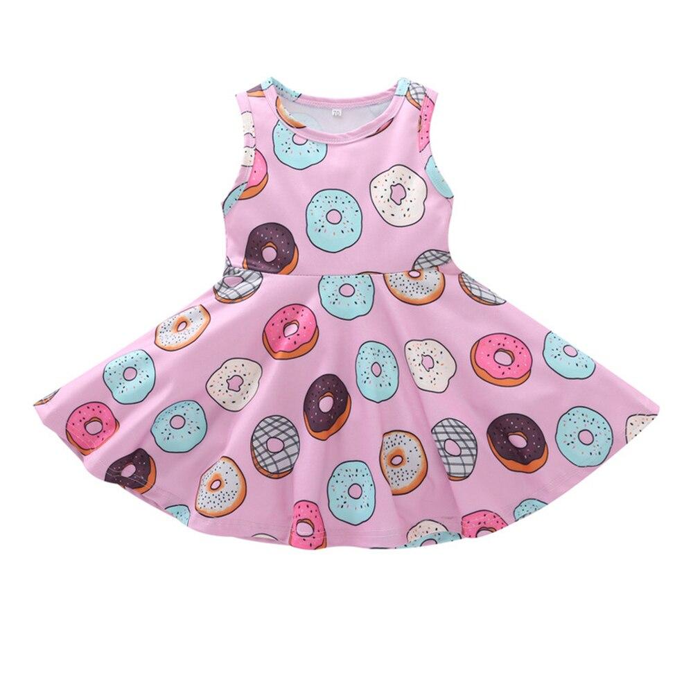 Cute Summer Girls Kids Cotton Dress Bright Color Pink Doughnuts Print Costume Donut Pattern Sleeveless Dress Clothes Dresses