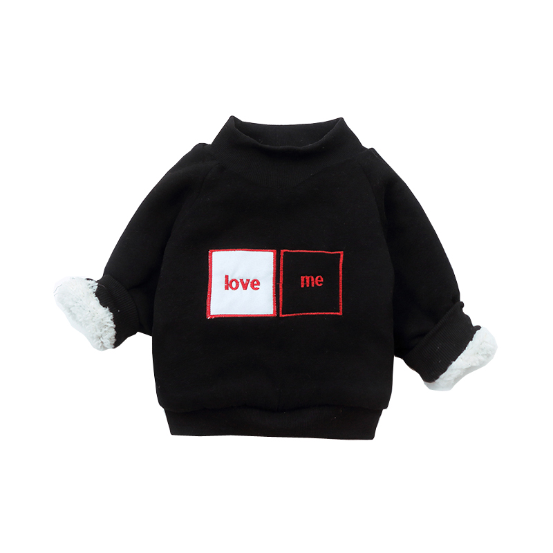 Letter Pattern Kids Coat Boys & Girls Pullover Warm Long Sleeve Kids T-shirt For Winter Black Girls Sport Hoodies Baby Jacket