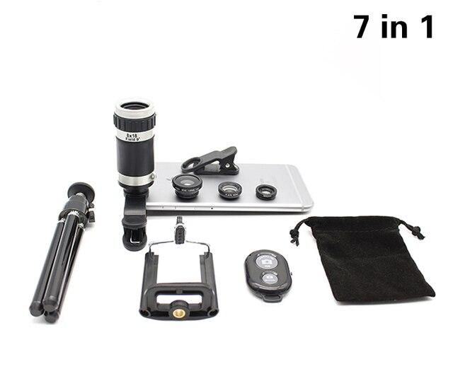 2016 New 7in1 8X Optical Zoom Telescope Camera Lens Universal Phone Holder Stander 3in1 Lentes Fisheye Lenses Bluetooth Shutter