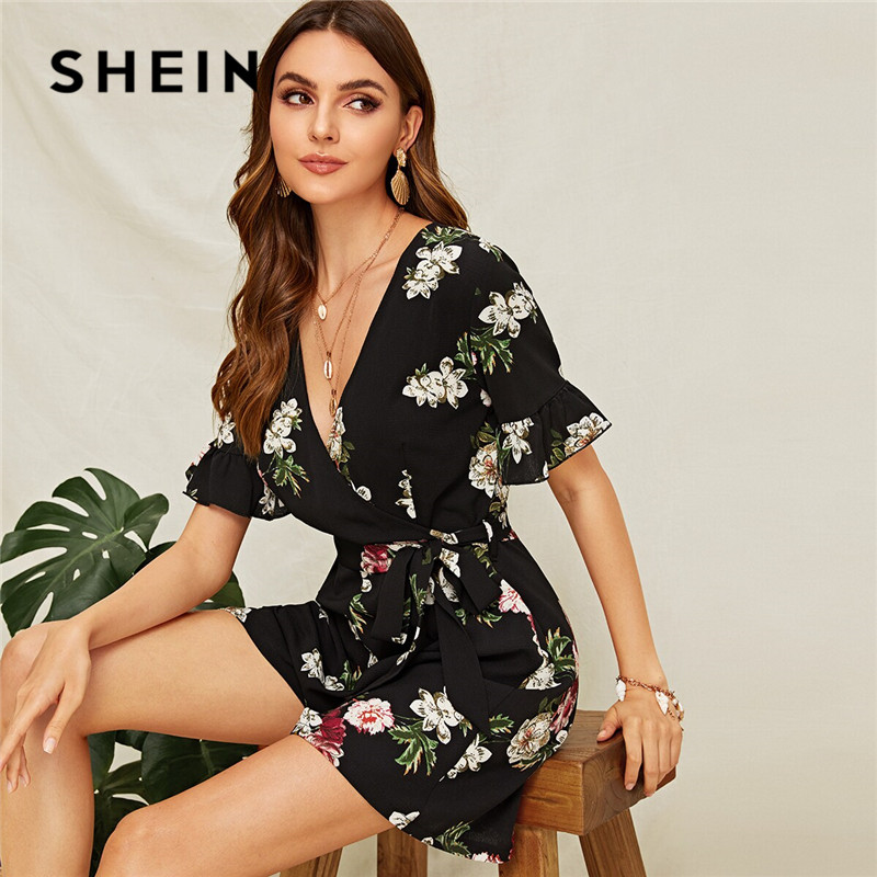 SHEIN Floral Surplice Neck Flounce Sleeve Belted Summer Rompers Womens   Jumpsuit   Boho Mid Waist Sexy   Jumpsuit   Ladies Playsuit