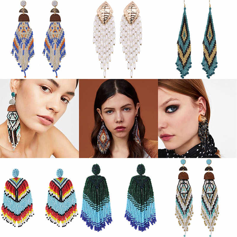 Miwens 2019 Colorful Boho Ethnic Tassel Beads Long Drop Earrings Women Spring Summer Handmade Wedding Statement Jewelry Hot A563