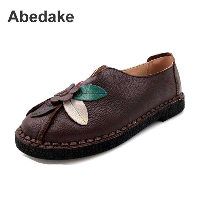 Abedake brand women flats  comfortable casual genuine leather handmade women casual shoes soft bottom antiskid women spring flat designer women flats amry green genuine leather lace up grey flats fashion handmade casual leather shoes soft bottom comfortable