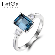 Leige Jewelry London Blue Topaz Ring Topaz Cocktail Party Ring November Birthstone Emerald Cut Blue Gemstone 925 Sterling Silver