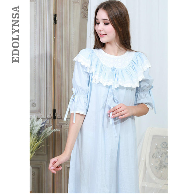 Victorian Autumn Sleepwear Women Plus Size Nightgown Long Sleep Shirt Slash  Ruffle White Lace Cotton Night Wear Home Dress T317 4f0a75447