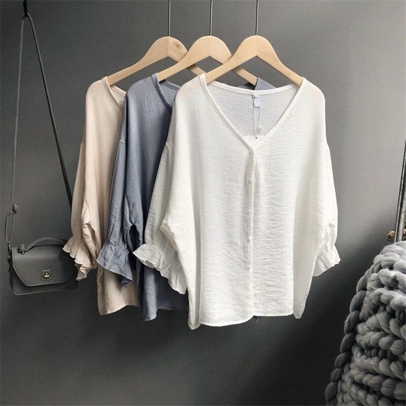 Chiffon 3/4 Petal Sleeve Blouse 2018 Summer style Loose Women V-neck Blouse Shirts Fashion Female Shirt Feminina Camisas Blusas