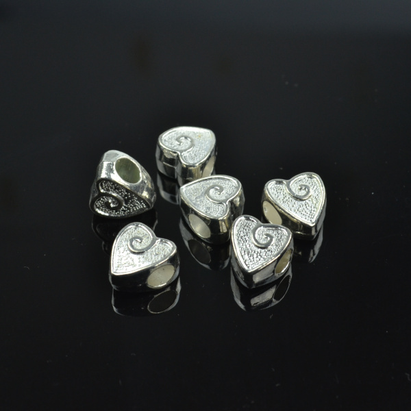 50pcs Bright silver big hole charms loose beads for European bracelets making diy jewelry accessories and components z42238