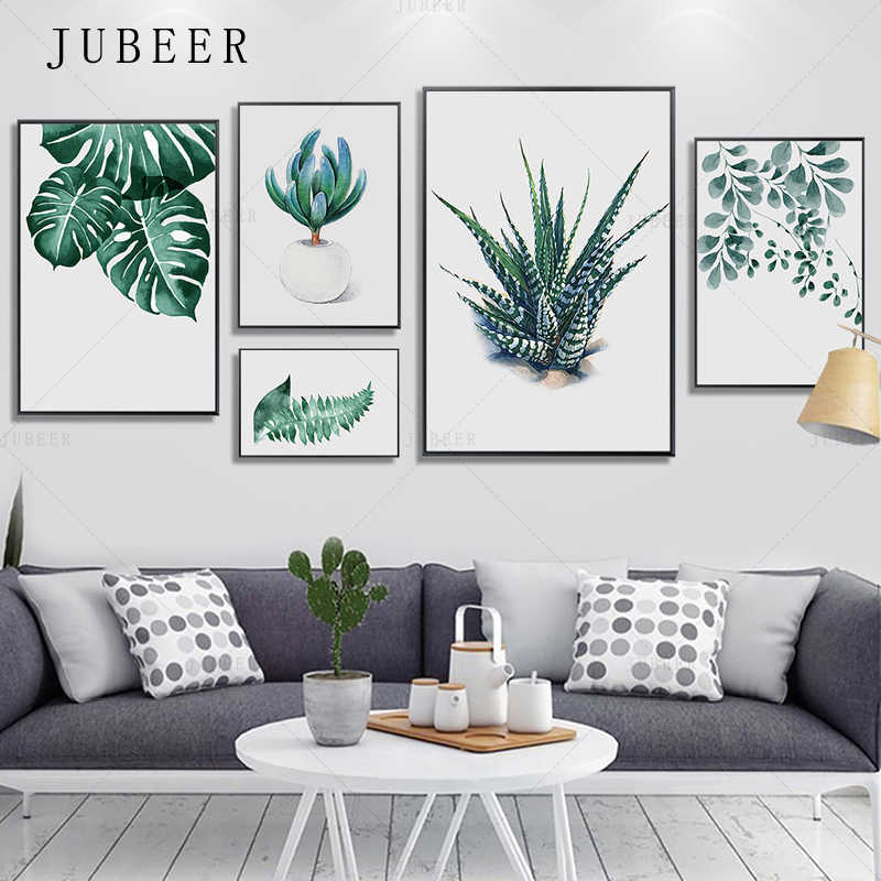 JUBEER Watercolor Leaves Posters and Prints Wall Art Canvas Painting Green Plant Nordic Style Decorative Picture For Living Room