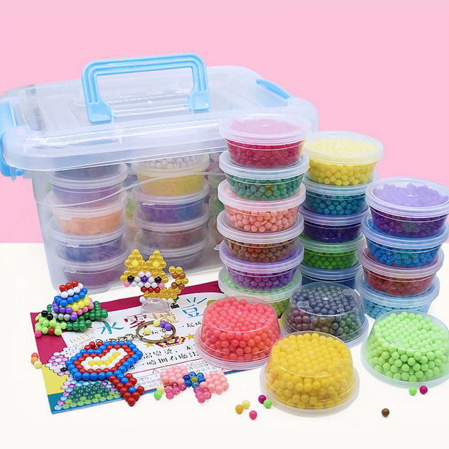 DOLLRYGA Barrel 9600Pcs/Set 24 Colors 5mm Water Spray Aqua Perlen Magic Beads Educational 3D Puzzle Accessories Toy For Children