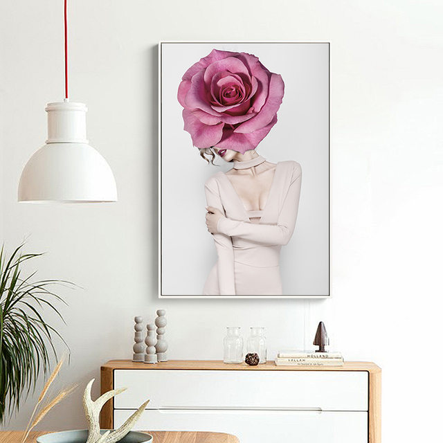 Abstract Sexy Rose Girl Canvas Painting Art Print  1