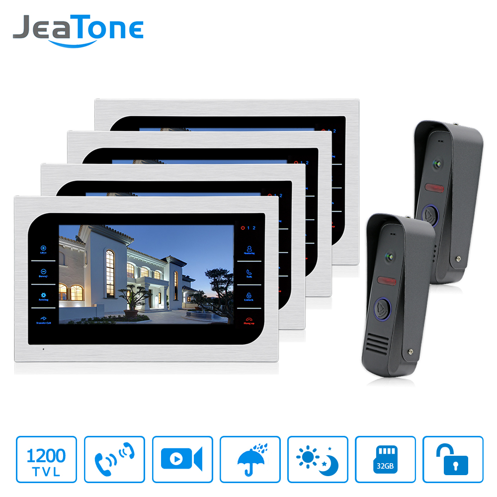 JeaTone 10 TFT Wired Video Intercom System 1200TVL High Resolution Camera Touch Key Home Security Video Doorbell system jeatone 4 wired lcd color touch key monitor video door phone doorbell intercom system night vision 1200tvl high resolution 2v1