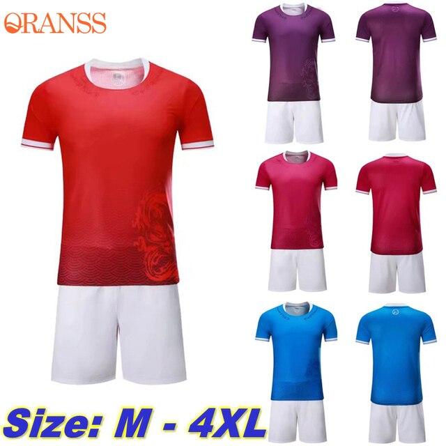 Men Soccer Jersey Training Football Shirt+Shorts Kits Dragon Printed  Sportswear Adults Competition Team Uniforms Plus Size 4XL f2cf0a5e2