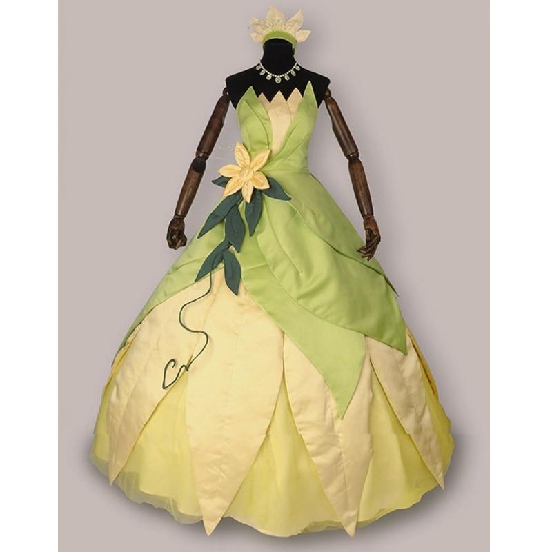Герой Catcher Высокое качество принцесса и Лягушка Косплей Принцесса Тиана платье Принцесса Тиана костюм Хэллоуин костюм