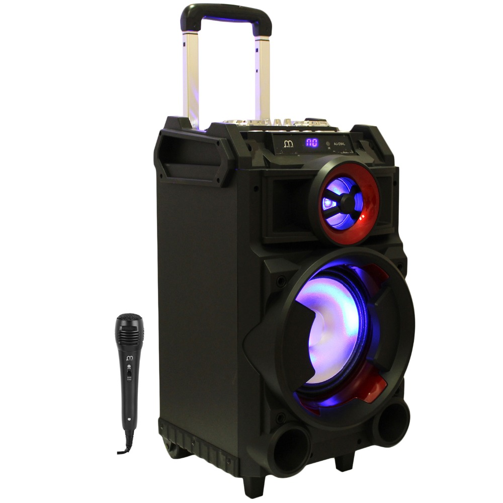 Bluetooth Speaker Karaoke Portable with Microphone USB Trolley Rechargeable TF Card with FM Radio Pantalla LED ui b30 rubber bluetooth v3 0 speaker w microphone tf fm for iphone black grey