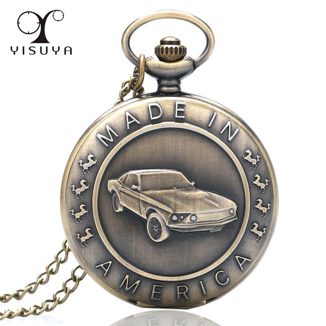 2018 New Fashion Bronze Mustang Pattern Car Quartz Pocket Watch with Necklace Ch