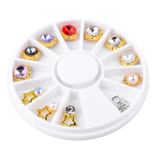 Creative Alloy Pearl Nail Art Decoration 12pcs/Box  Wheel 3D Beauty Salon Charm DIY Nail Rhinestone Accessories Wheel