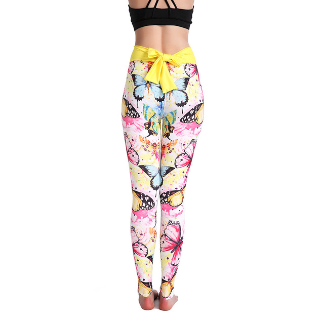 14519879c44f7 JIGERJOGER 2018 new Bright yellow Butterfly Sublimation digital printing  yoga Women's Bow leggings Stretchy sports workout pants