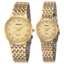 Новые простые пару часов woonun Лидирующий бренд роскошные золотые кварцевые любителей смотреть Set Мода Ультра тонкие часы подарок на день Святого Валентина