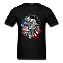 Cool USA Indian Hunter Skull Printed T Shirt For Men New Arrival Fashion Casual Tops Tees Pure Cotton Short Sleeve Tee Shirt(China)