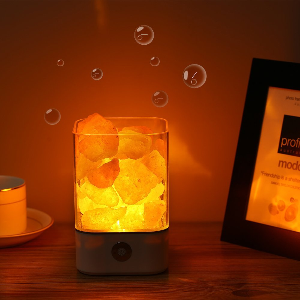 USB Powered Crystal Himalayan Salt Lamp Dimmer LED Night Light Air Purifier Bedside Table Lamp Baby Sleeping Lights For Bedroom цена