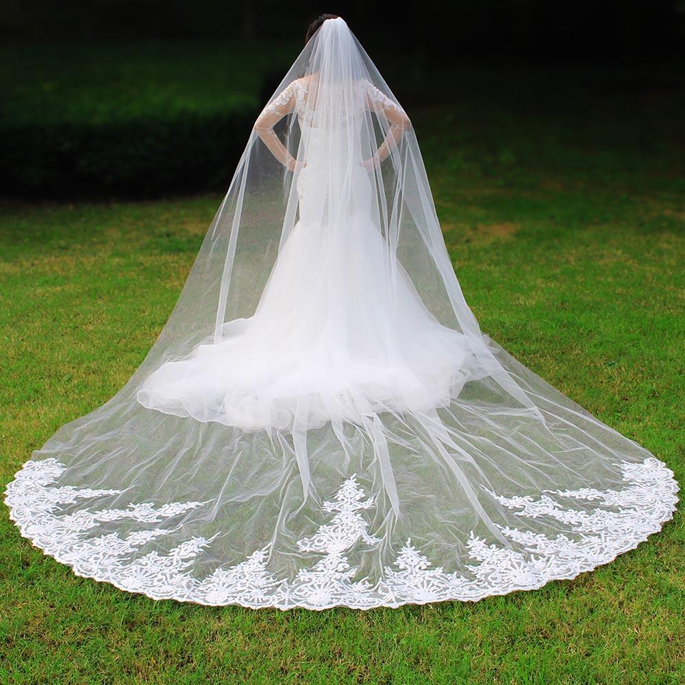 Elegant 4 Meters Long One Layer Bridal Veil with Comb White Ivory Lace Wedding Veil New Velo de Novia Bride Accessories