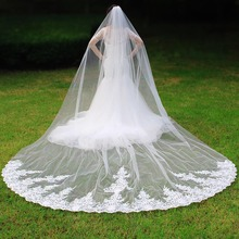 Elegant 4 Meters Long One Layer Bridal Veil with Comb White Ivory Lace Wedding Veil New Velo de Novia Bride Accessories real photos sparkly sequins lace 3 meters wedding veil with comb one layer 3 m white ivory bridal veil velo 2019
