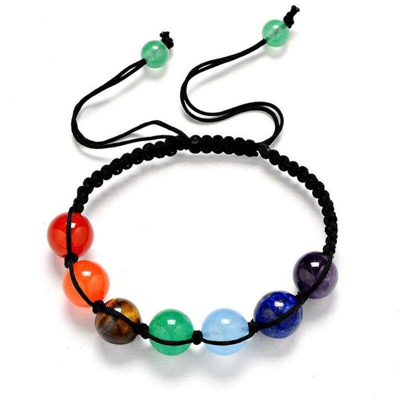 7 Colorful Natural Stone Beads Crystal Chakra Bracelet For Women Braided Rope Bead Bracelets Reiki Spiritual Yoga Jewelry bead