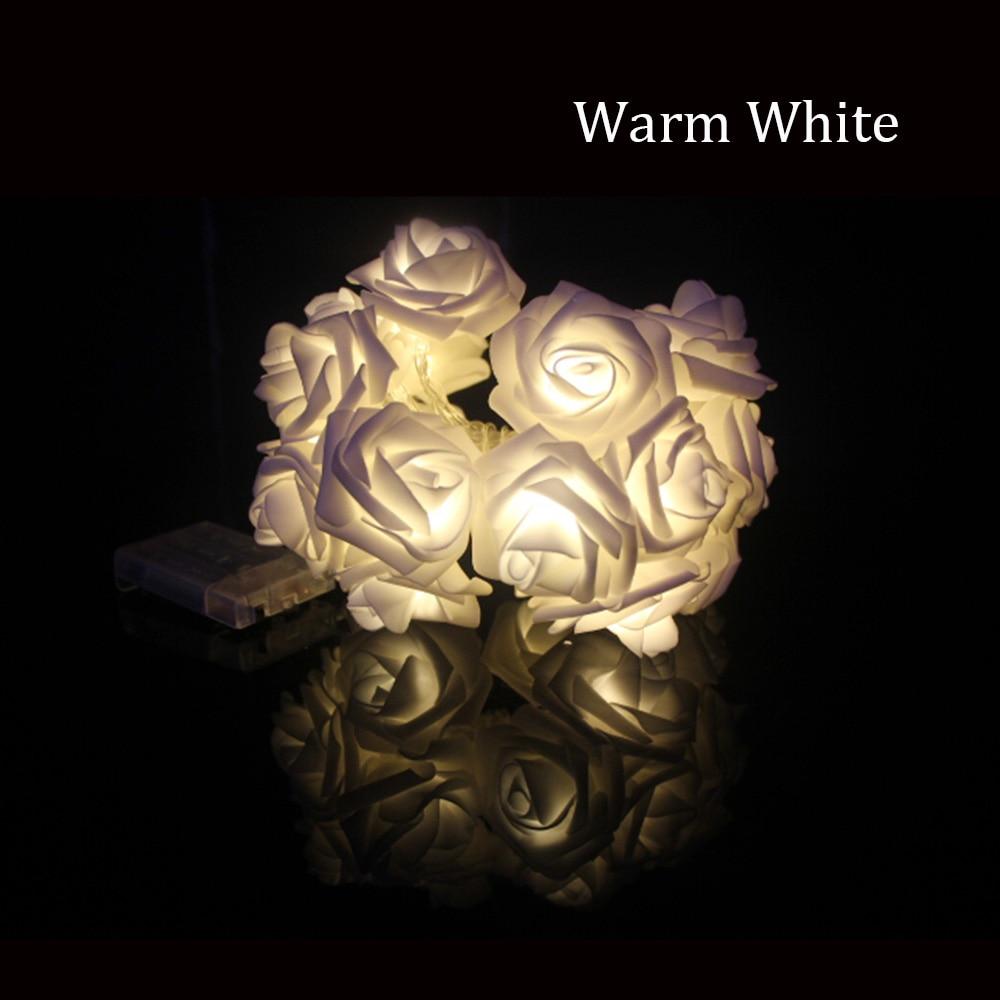2M 20LED Batteridrevet Holiday Light LED Rose Flower Fairy String - Ferie belysning - Bilde 4