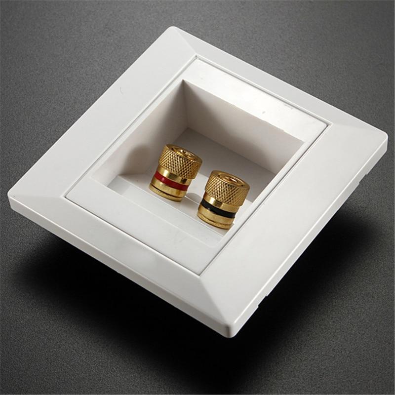 2 Binding Post Banana Plug Gold Plated Audio Jacks Wall Plate Panel Two Speakers Interface 86mm X 86mm