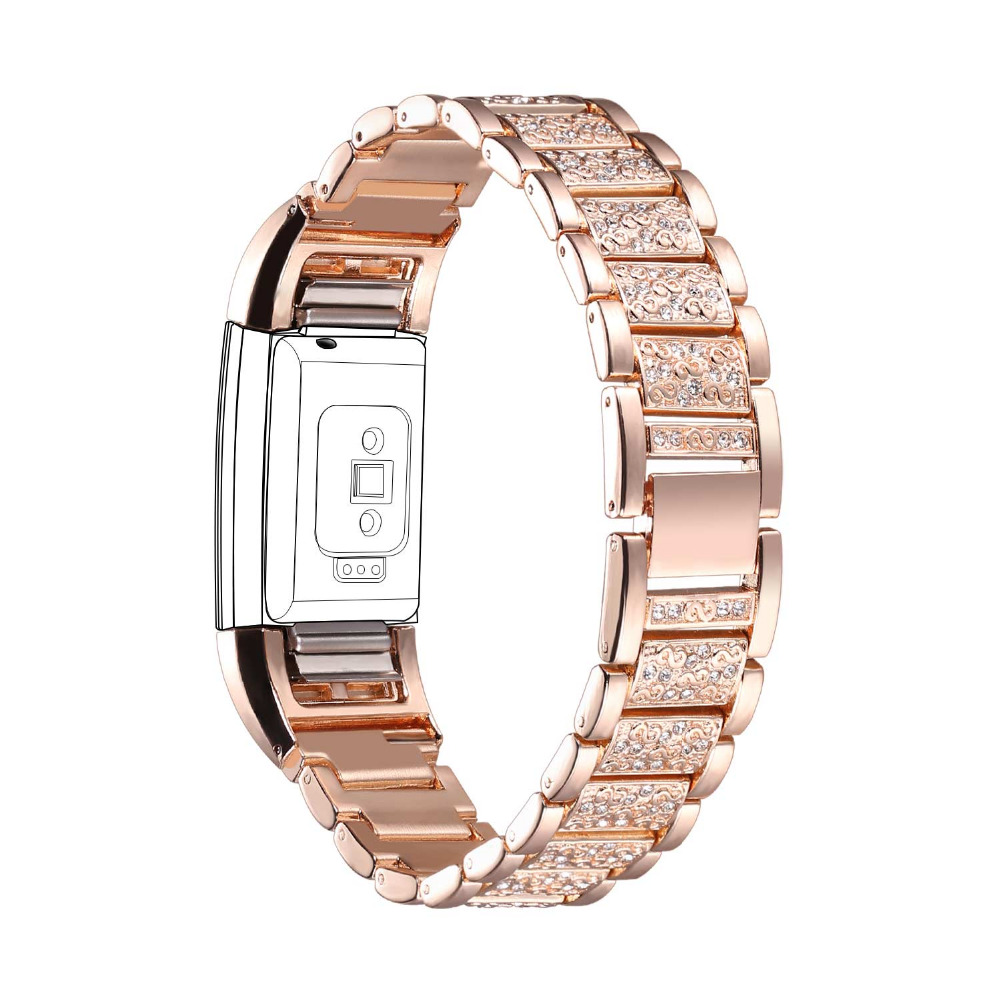 Fitbit Replacement Bands with Rhinestone High Quality Zinc Alloy Rose Gold Adjustable Fitbit Charge 2 Bands