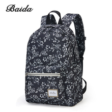 BAIDA Fashionable Black Floral Print Backpack Flower Pattern Women Back Pack School Bookbag Bags for Teenage Girls