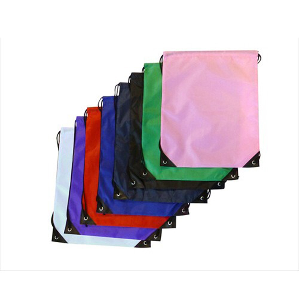 MOQ 100pcs 210D Polyester Drawstring Bag With One Color Logo Printing