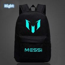 2018 школьные сумки для футбола, рюкзак Messi с принтом логотипа, светящиеся рюкзаки для детей, дорожный рюкзак