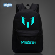 bd42ad659 2018 School Shoulders Soccer Bags Barcelona Messi Backpack Logo Printing  Luminous Backpacks For Children Kids Travel