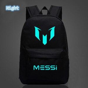 Image 1 - 2018 School Shoulders Soccer Bags Messi Backpack Logo Printing Luminous Backpacks For Children Kids Travel Mochila