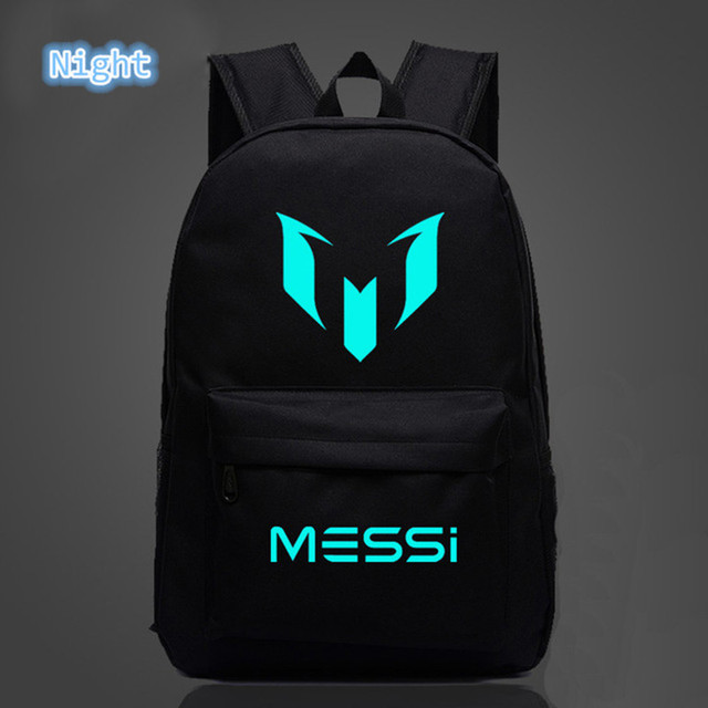 2018 School Shoulders Soccer Bags Messi Backpack Logo Printing Luminous Backpacks For Children Kids Travel Mochila