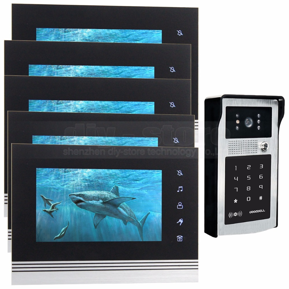 DIYSECUR 7 inch Touch Button Video Door Phone Intercom Doorbell IR Night Vision HD 300000 Pixels RFID Keypad Camera 1V5