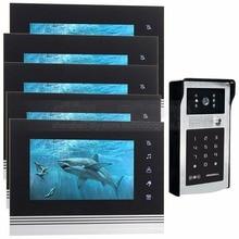 DIYSECUR 7 inch Touch Button Video Door Phone Intercom Doorbell IR Night Vision HD 300000 Pixels RFID Keypad Camera 1V5