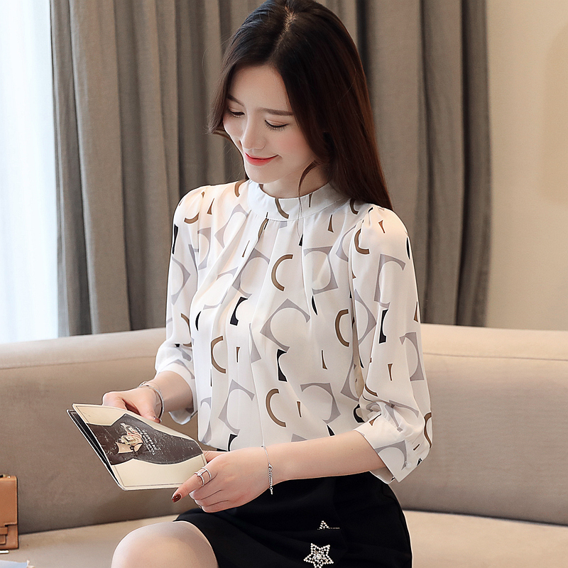 Summer Blouse For Women 2021 Womens Clothing Print Chiffon Blouse Women Office Ladies Tops Womens Tops And Blouses 4482 50 2