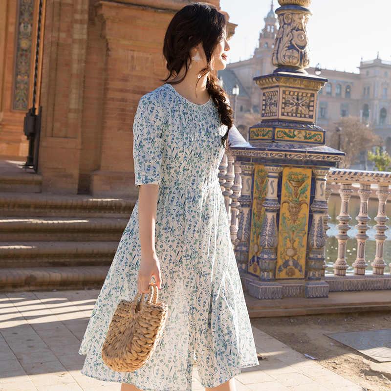 INMAN/2019, женское платье с цветочным принтом и высокой талией, женские летние выходные пляж, хлопковое платье с коротким рукавом