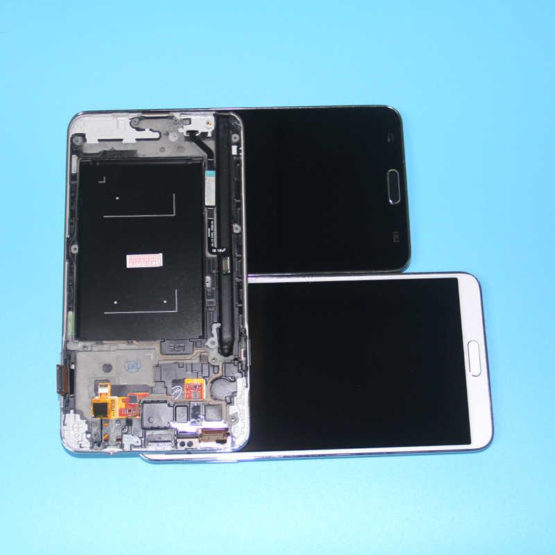 شاشات lcd لسامسونج غالاكسي Note3 ملاحظة 3 N9005 شاشة الكريستال السائل مجموعة المحولات الرقمية لشاشة تعمل بلمس مع إطار ملاحظة 3 N9005 شاشة الكريستال السائل