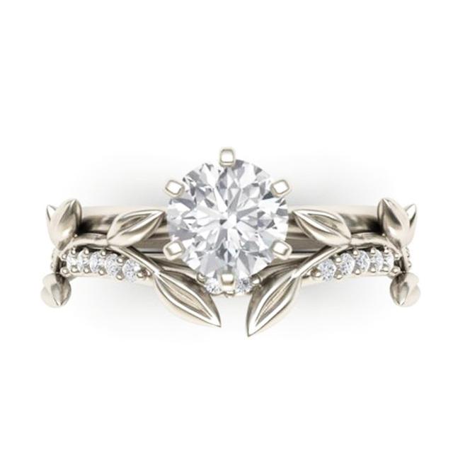 Anel de Noivado de EDI Meaf Correspondência Banda Lab Grown Moissanite Anel de Diamante Anel de Diamante de Ouro Branco Inspirado Natureza da Faixa Do Casamento