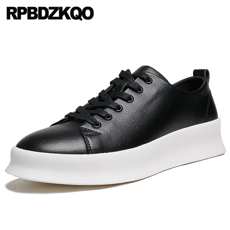 612760593cb Hidden Height Increasing Shoes 2018 Creepers Lace Up Spring Sneakers  Trainers Rubber Fashion New Men Skate Casual Black Elevator