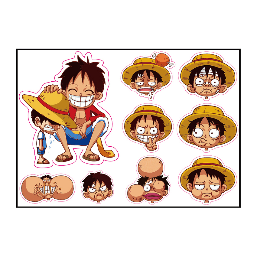 9pcs One Piece Luffy 21*29cm Fixed Gear/Luggage/Guitar/Motor/Cars/Refrigerator Stickers Reusable ONEPIECE Sticker 5-15cm