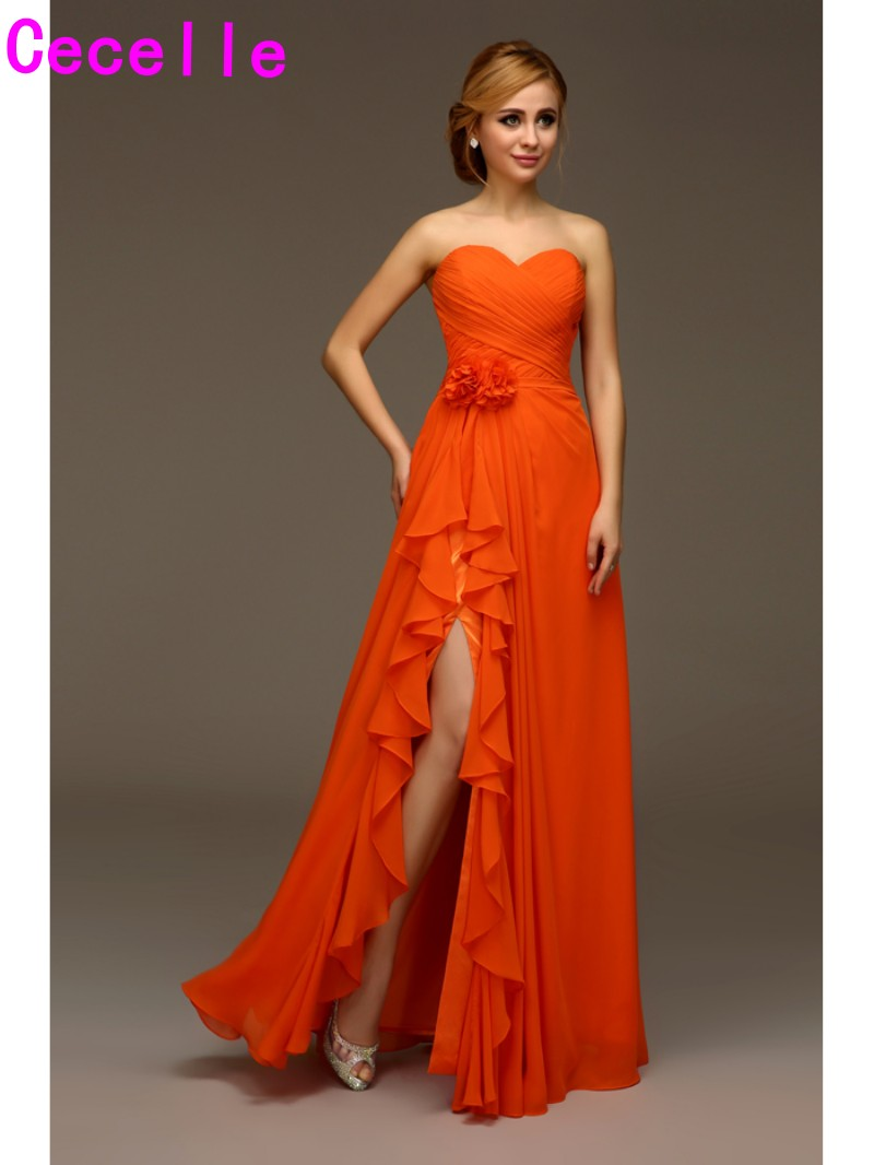 2019 Real Orange Beach   Bridesmaids     Dresses   Chiffon Sexy Side Slit Sweetheart Flowers Boho Wedding   Bridesmaid   Robes Fast Shipping