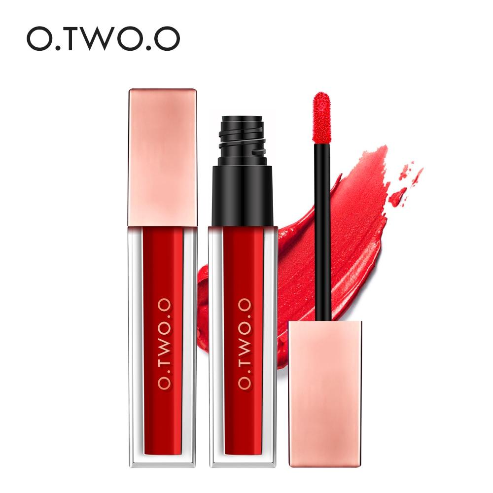 O. TWO.O 15 Warna Lip Gloss Beludru Matte Lipstik Cair Warna Seksi Lip Cat Tahan Air Tahan Lama Profesional Batom Makeup