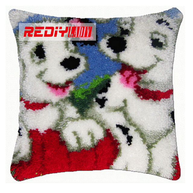 Hot Latch Hook Pillow Kits White Dog Brothers Diy Needlework Crocheting Rug Handmade Embroidery