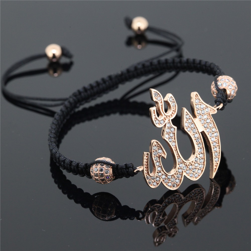 Kejialai Muslim Allah Bracelet Men Women Islam Trendy Gift 8mm Micro Pave Cubic Zirconia Islamic Braiding Macrame Bracelet