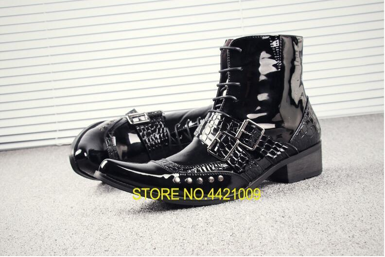 Martin Boots Shoes Men Buckle Strap Med Heel High Top Casual Shoes Meatal Rivets Lace Up Patent Leather Black Ankle Boots мягкая игрушка поросенок 35 см