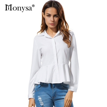 White Blouses And Shirts Women Peplum Tops 2017 New Fashion Collar Long Sleeve Shirt Women Casual Clothing With Ruffles
